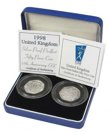 1998 Silver Proof Piedfort 50p - EEC and NHS